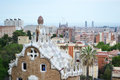 View of barcelona in the foreground park guell spain june at cloudy day spain Royalty Free Stock Photo