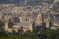 View of Barcelona with the Montjuic palace. Stock Photography