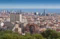 View of barcelona from mount tibidabo tower akbar torre agbar Royalty Free Stock Photo