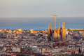 View of barcelona from park guel on a sunset Stock Images