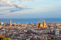 View of barcelona from park guel on a sunset Royalty Free Stock Image