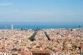 View of barcelona and sea from park guell a hill in Stock Photography