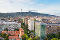 View on Barcelona and Tibidabo Mountain Stock Photos