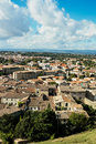 View of the base city of carcassonne aerial in aude department france seen form walled Royalty Free Stock Image