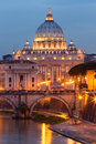 View of Basilica di San Pietro Dom, night,Vatican City in Rome, Italy Royalty Free Stock Photo