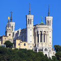 View of basilica of notre dame de fourviere lyon france Stock Photos