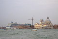 View of the basilica santa maria della salute and a cruise liner in a water of the venetian lagoon venice italy september Royalty Free Stock Photos
