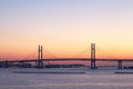 Bay Bridge over sunrise in Yokohama, Japan Royalty Free Stock Photo