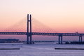 Bay Bridge over sunrise in Yokohama, Japan