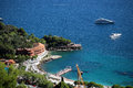 View of bay from mountain monte carlo monaco september indentation shoreline and modern expensive yachts offshore blue sea Royalty Free Stock Image