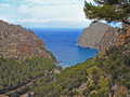 View on the bay sa calobra on majorca mediterranean sea down rocky coast northwest coast of spanish balearic island of Stock Image