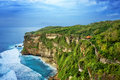 View of beach cliff near pura uluwatu temple bali island indonesia Royalty Free Stock Images