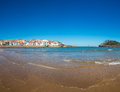 View of the beach of lekeitio with clear blue sky vizcaya basque country spain Royalty Free Stock Photos