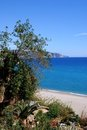 View of the beach, Nerja, Andalusia, Spain. Stock Photography