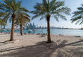 View beach Palm Jumeirah and the skyscrapers of Dubai Marina Royalty Free Stock Photo