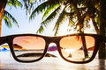 View on beach through sunglasses Royalty Free Stock Photo