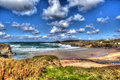 View of the beach at Treyarnon Bay Cornwall England UK Cornish north coast between Newquay and Padstow in colourful HDR Royalty Free Stock Photo