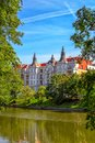 View of beautiful historic building on the river Odra bank in Wroclaw Royalty Free Stock Photo