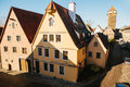 View of a beautiful street with traditional German houses in Rothenburg ob der Tauber in Germany. European city. Royalty Free Stock Photo