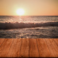 View on beautiful sunset over mediterranean sea from dark wooden gangway table or bridge turkey in autumn alanya natural Royalty Free Stock Photo