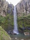 View of the beautiful and tall waterfall in Salto da Farinha, Sao Miguel, Azores, Portugal