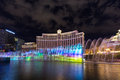 View of Bellagio hotels and casino at night with fountains show, LAS VEGAS, USA Royalty Free Stock Photo