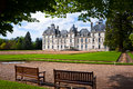 View with benches and Cheverny castle, France Royalty Free Stock Photography