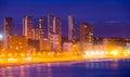 View of Benidorm seaside in night Royalty Free Stock Photo