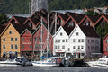 View of bergen tourists and locals stroll along the unesco world heritage site bryggen july in is the second largest city in Royalty Free Stock Image