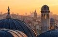 View of Beyoglu's region and Galata tower at sunrise