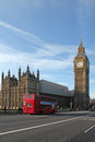 View on big ben with a double decker bus in the foreground Royalty Free Stock Image