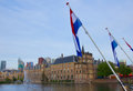 View binnenhof dutch parliament flags den haag holland Royalty Free Stock Photo
