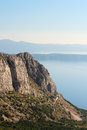 View from Biokovo mountain to Croatian islands and the Adriatic sea Royalty Free Stock Photo