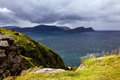 View from the bird cliffs on the ocean in windy weather in Norwa Royalty Free Stock Photo