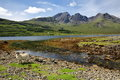 View of the Blabheim mountain Red Cuillin Hills behind Loch Slapin near Torrin, Isle of Skye, Highlands, Scotland, UK Royalty Free Stock Photo