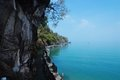 View of blue andaman sea from the caves of malaysia scenic tropical island in langkawi Royalty Free Stock Photo