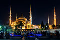 View of the blue mosque at night in istanbul turkey sultanahmet camii Stock Images