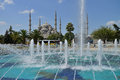 View of the blue mosque sultan ahmed with fountain august in istanbul turkey on most popular Royalty Free Stock Photos
