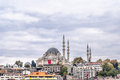 View on the blue mosque sultanahmet camii istanbul from sea turkey Royalty Free Stock Photos