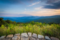 View of the Blue Ridge Mountains from Skyline Drive, in Shenandoah National Park, Virginia. Royalty Free Stock Photo