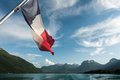 View boat annecy lake french flag Royalty Free Stock Photo