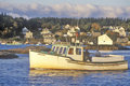 View of boat in harbor in Lobster Village, ME, Mount Desert Island Royalty Free Stock Photo