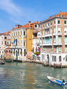 View of boats in Grand Canal in Venice city Royalty Free Stock Photo