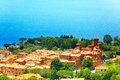 View on bolsena village and castle in italy summer Royalty Free Stock Images