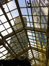 View of Boston skyscrapers through glass ceiling Royalty Free Stock Photo