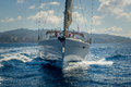 View on the bow of sailing yacht wich is cruising near Porto Cervo, Sardinia. Royalty Free Stock Photo