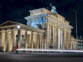 View of the Brandenburger Tor with car lights Royalty Free Stock Photo