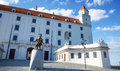 View of bratislava castle on blue sky sunny day slovakia june Royalty Free Stock Photo