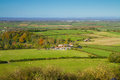 View from Brent Knoll towards Flat Holm Royalty Free Stock Photo