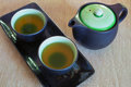 View of the Brewed and healthy Japanese green tea served in traditional hohin and shiboridashi dishes Royalty Free Stock Photo